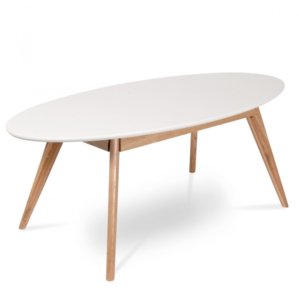 Table basse ovale blanche for Table blanche et bois