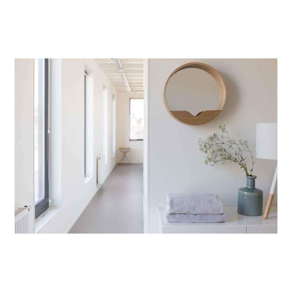 miroir en bois round wall wall zuiver par drawer - Miroir Design