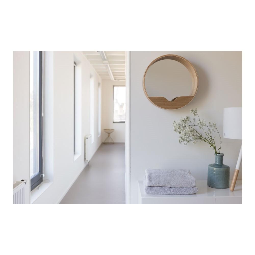 Miroir en bois round wall for Miroir design solde