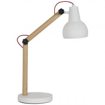 Lampe à poser bois & métal Study blanche