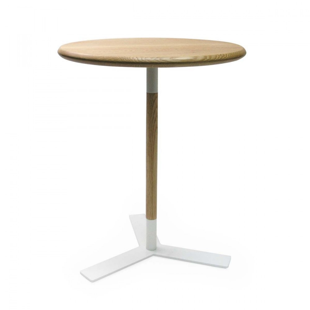 Table d 39 appoint plateau rond ch ne blanc corona - Table ronde d appoint ...