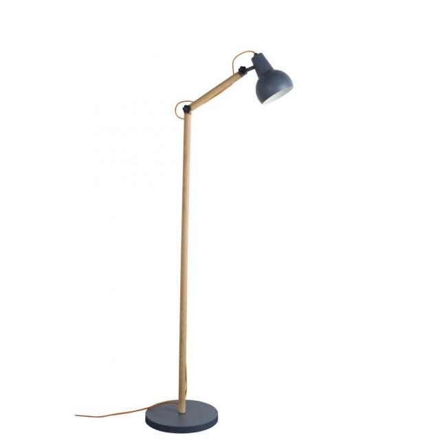 Lampadaire design bois & métal Study gris