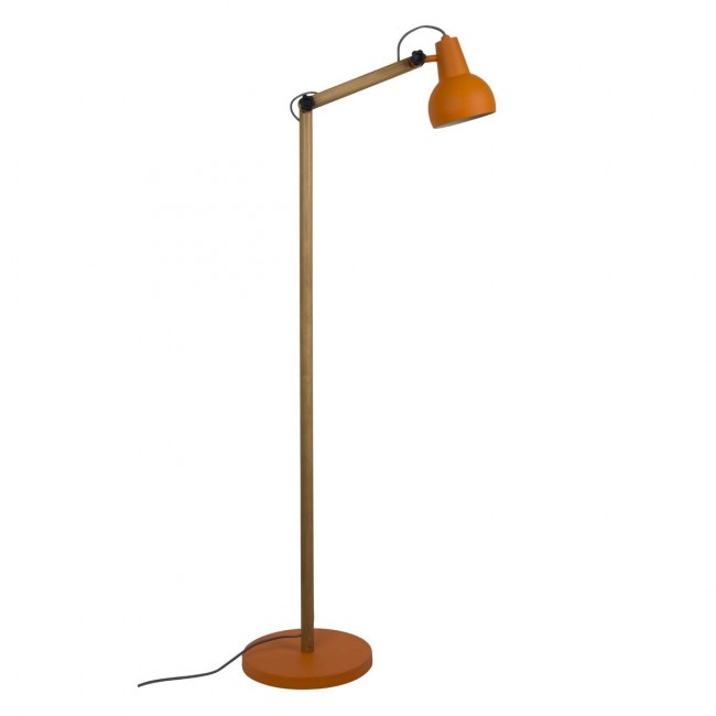 Lampadaire design bois & métal Study orange
