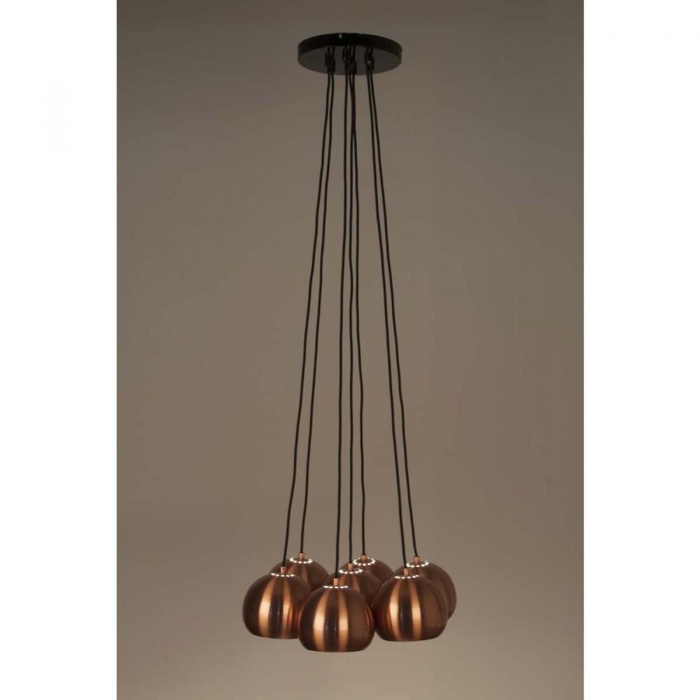 Suspension design 7 lampes multishine cuivre for Suspension multi lampes