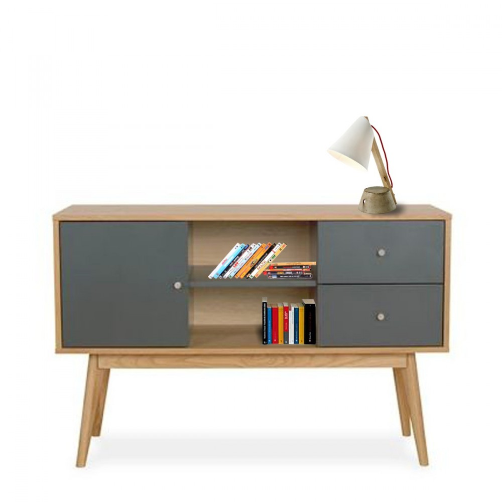 Buffet Scandinave Design Laque Mat Et Bois Skoll By Drawer # Meuble Tv Scandinave La Redoute