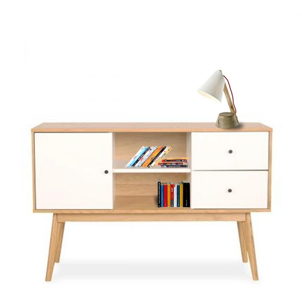 Buffet scandinave design laque mat et bois skoll by drawer - Buffet bois et blanc laque ...