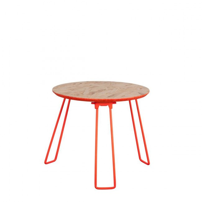 Table basse ronde orange fluo OSB Medium