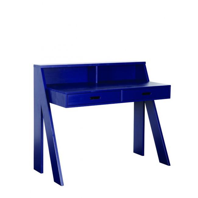 Bureau en bois bleu indigo Ewout vue de trois quart