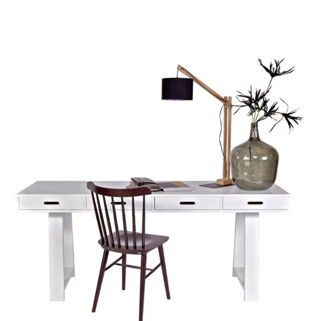 Bureau-Console 4 tiroirs en pin Teuna blanc ambiance