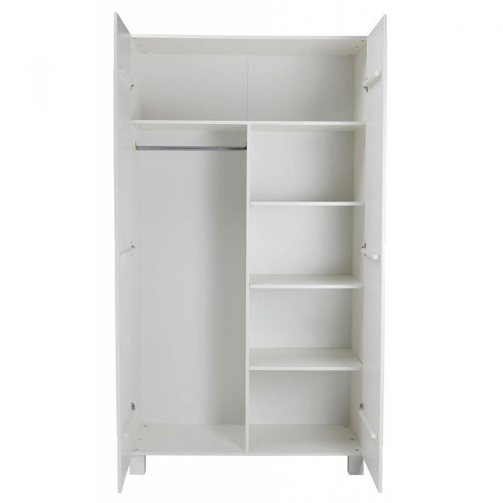 Armoire 2 portes en pin masssif blanc design scandinave lowie - Armoire en pin blanc ...