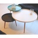 Table basse ronde Kompass Ø90 blanc, turquoise, noire