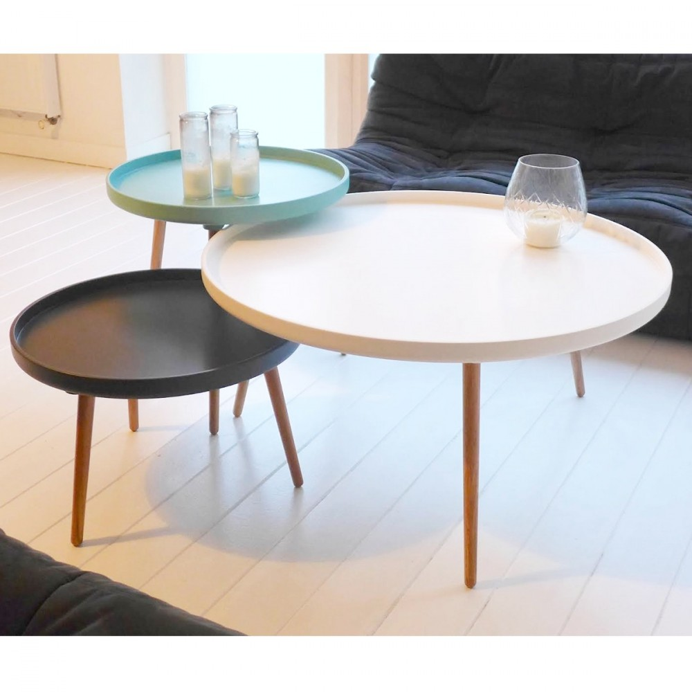 Table basse design kompass 55 by for Table noir et blanche