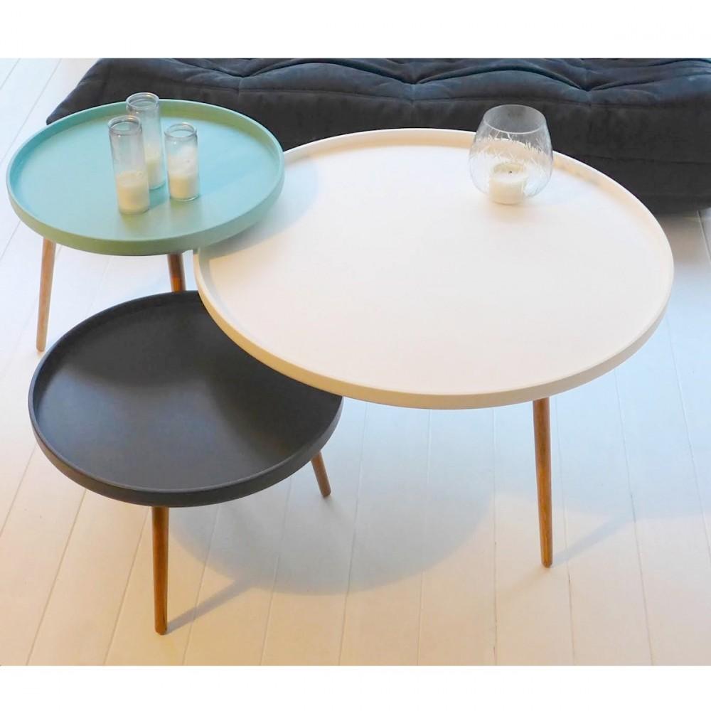 Table basse ronde noir et blanc - Table basse ronde rangement ...