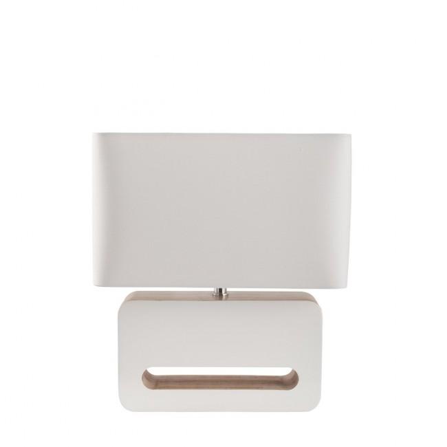 Lampe à poser design bois et tissu Wood blanche