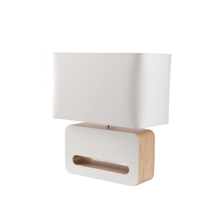 Lampe à poser design bois et tissu Wood blanche de profil
