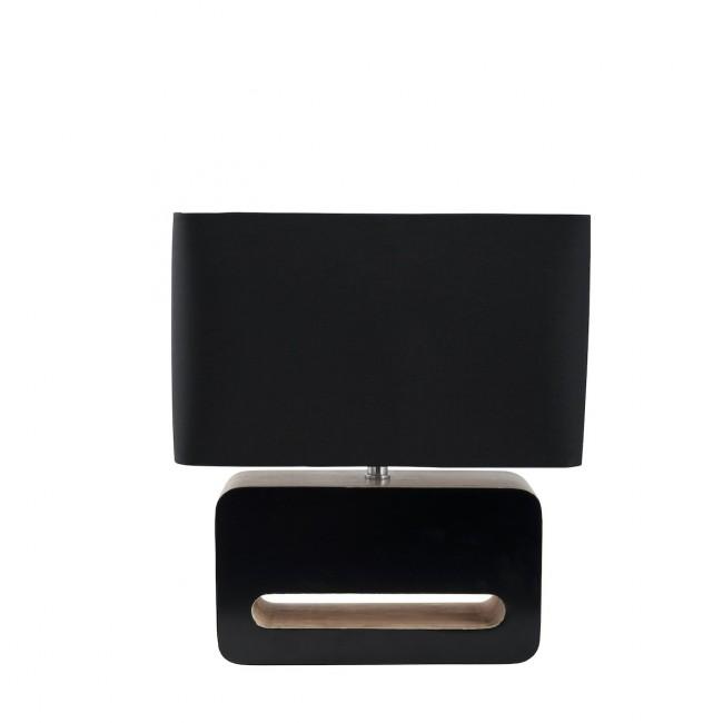 Lampe à poser design bois et tissu Wood noir