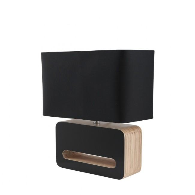 Lampe à poser design bois et tissu Wood noir vue de profil
