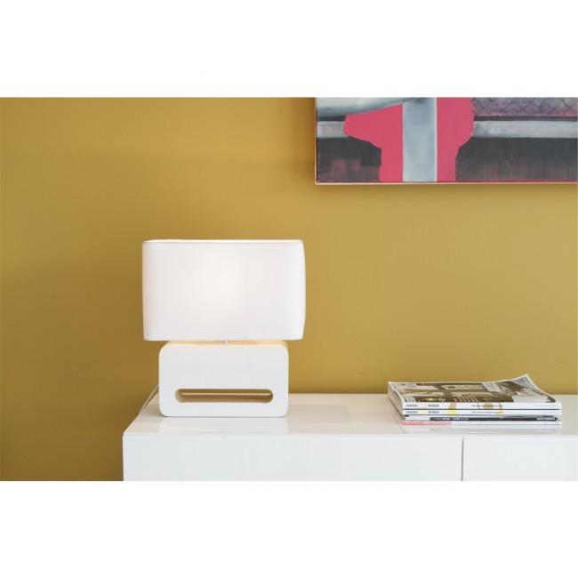 Lampe à poser design bois et tissu Wood blanche ambiance