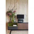 Lampe à poser design bois et tissu Wood noir ambiance