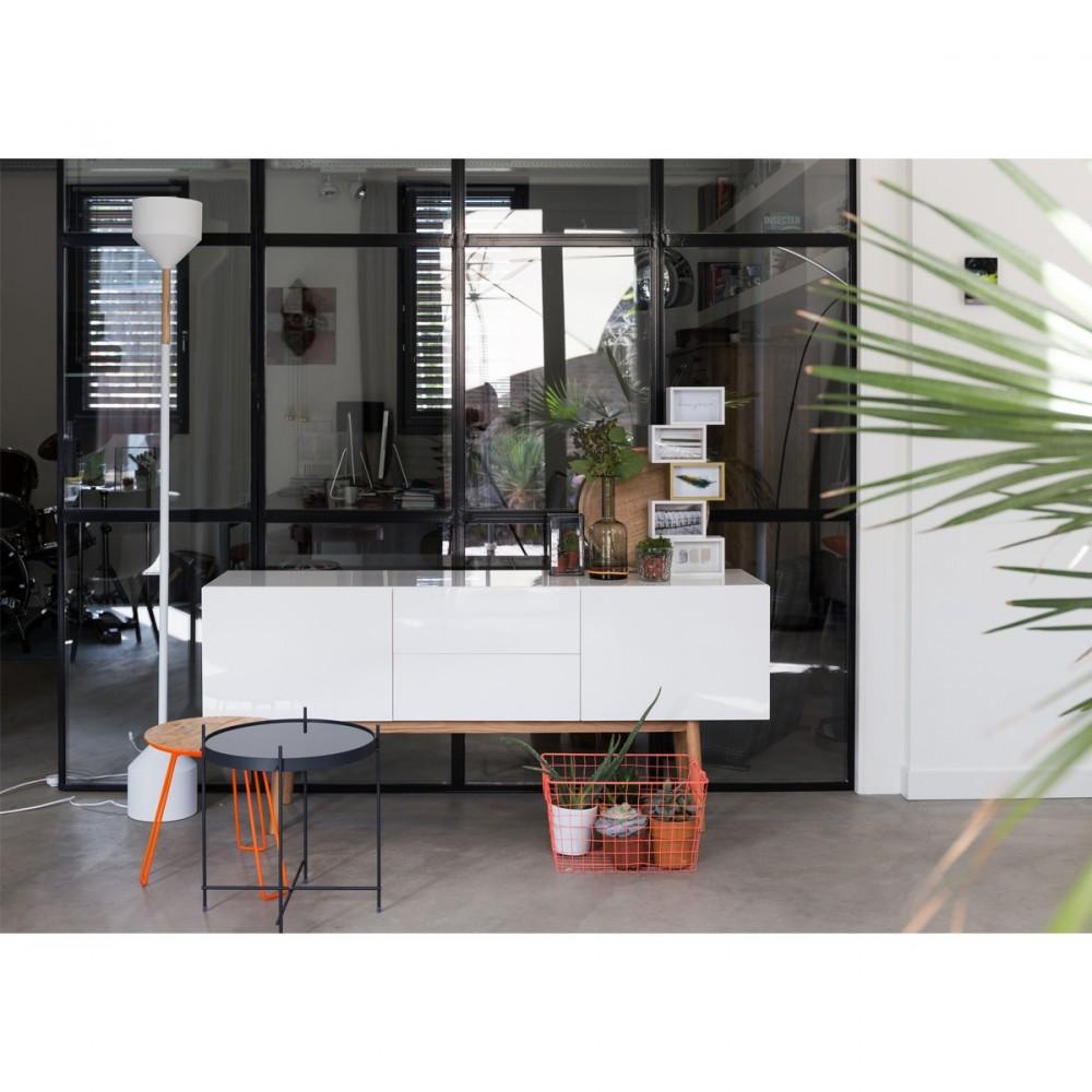 bahut scandinave 2 portes laqu blanc high wood zuiver. Black Bedroom Furniture Sets. Home Design Ideas