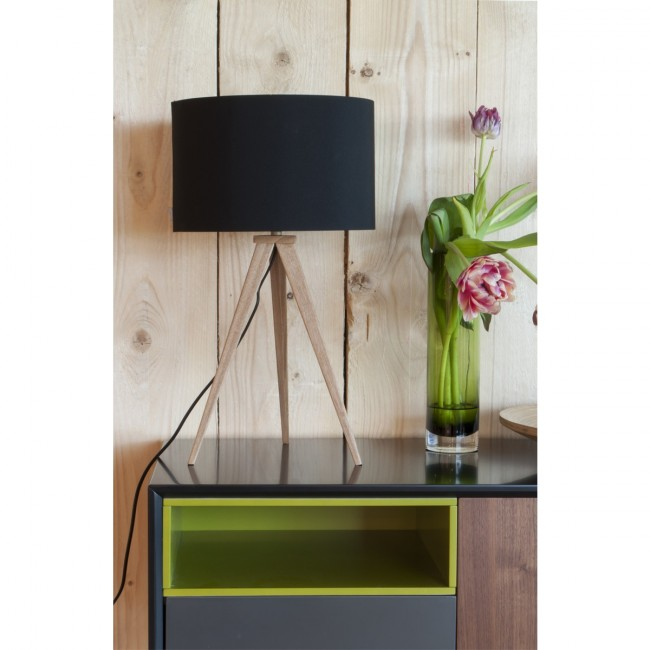 Lampe à poser Tripod Wood Mini noire ambiance