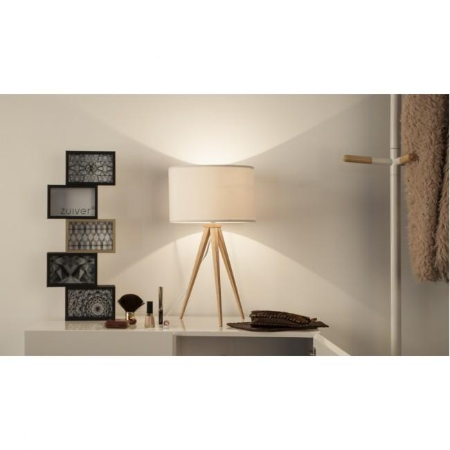 Lampe à poser Tripod Wood Mini blanche ambiance