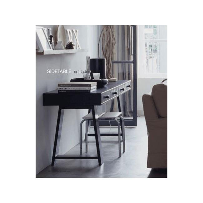 Bureau-Console 4 tiroirs en pin Teuna noir ambiance