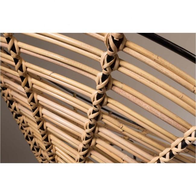 Fauteuil rond métal et rotin Kubu detail