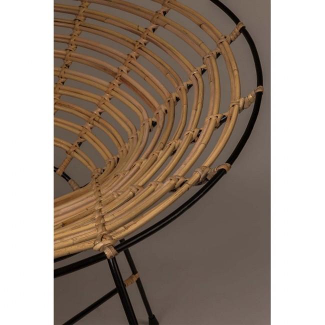 Fauteuil rond métal et rotin Kubu detail assise