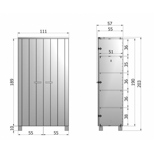 Dimensions armoire 2 portes en pin brossé Lowie