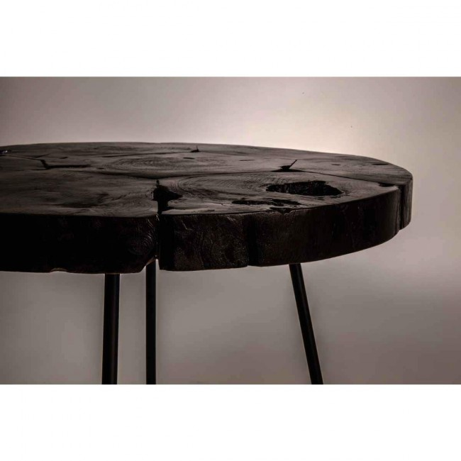 Table basse ronde Teck et métal Kraton by Dutchbone