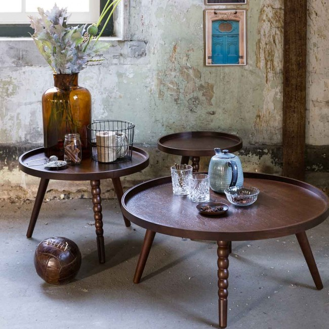 Table basse ronde en bois noyer Arabica Dutchbone