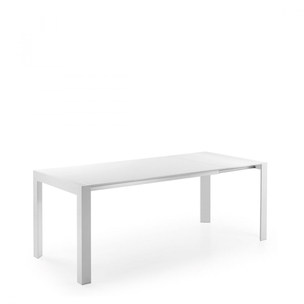 Table manger blanche laqu e newport extensible par drawer for Table blanche extensible 12 personnes