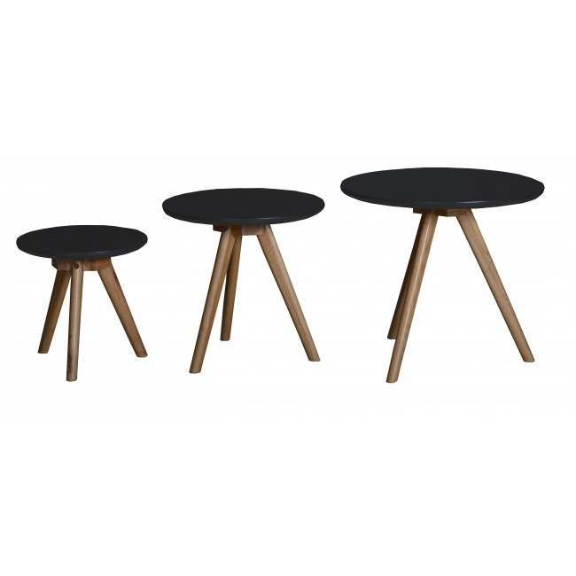 Lot de 3 tables basses scandinaves rondes laque noire Søren