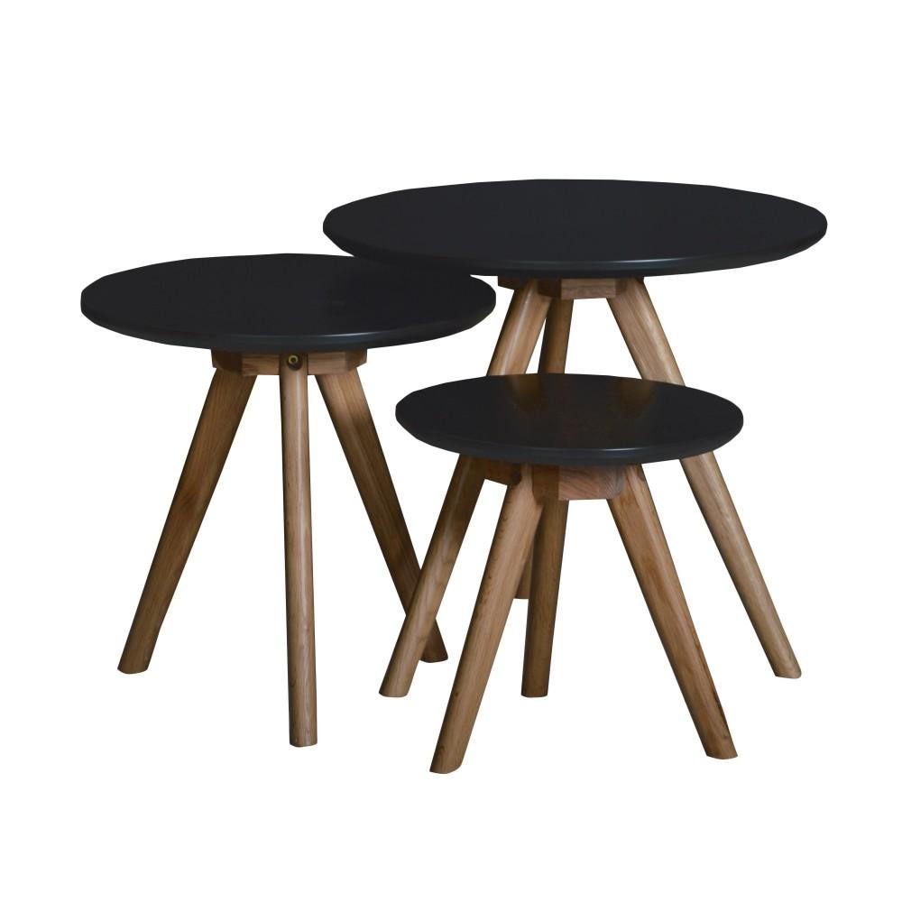 3 tables basses gigognes soren ch ne blanches ou noires - Tables basses noires ...
