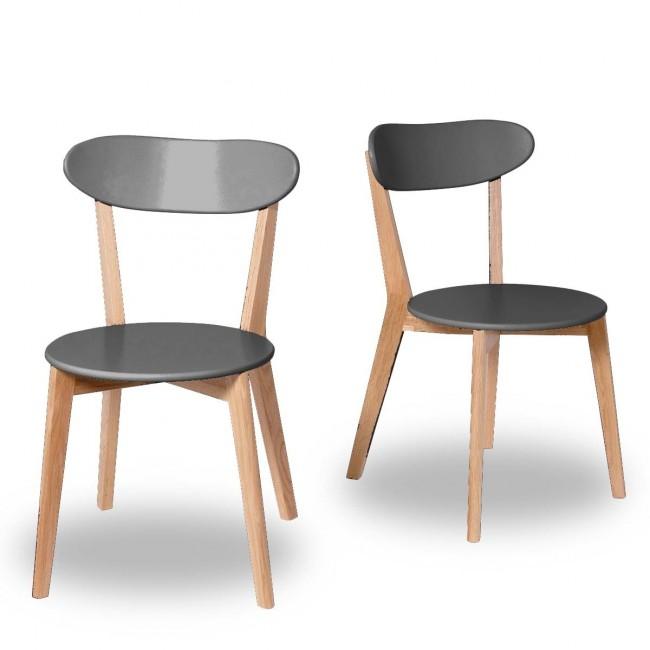 chaise design scandinave Vitak bois et gris