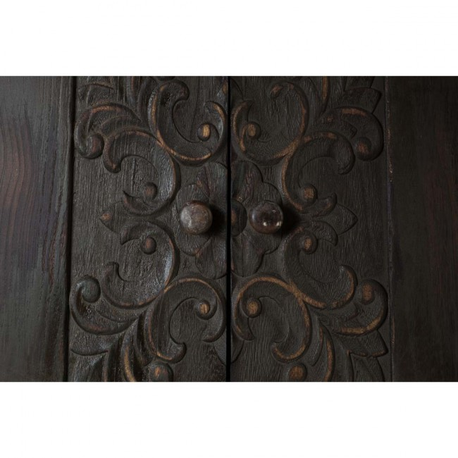 Buffet vintage bois foncé gravé Fuz detail haut