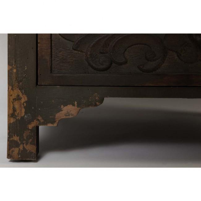 Buffet vintage bois foncé gravé Fuz detail pied