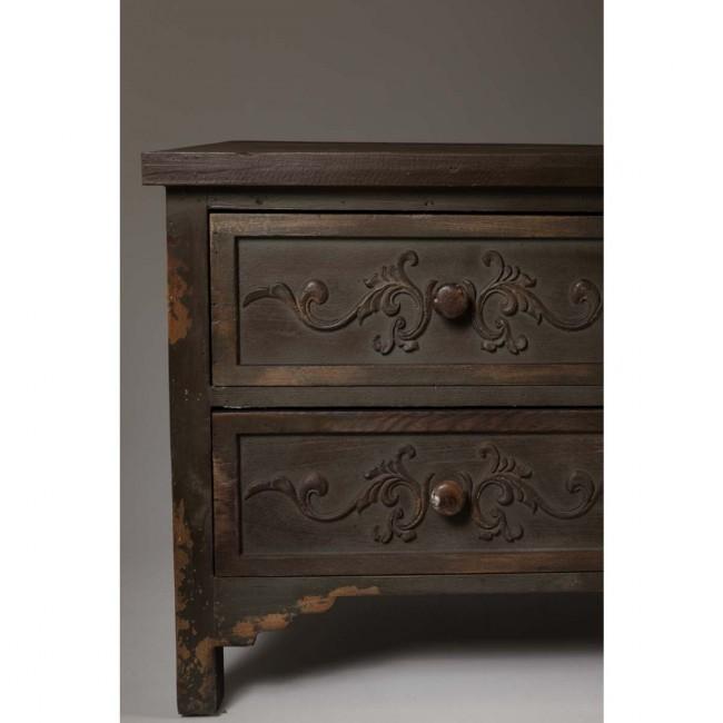 Buffet vintage bois foncé gravé Fuz detail meuble