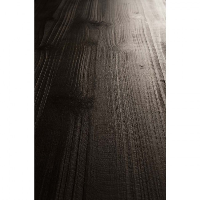 Buffet vintage bois foncé gravé Fuz detail bois
