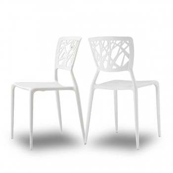 Lot de 2 chaises design Candice blanche mise en scene