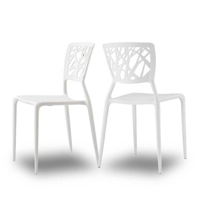 Lot de 2 chaises design Candice blanche mise en scene