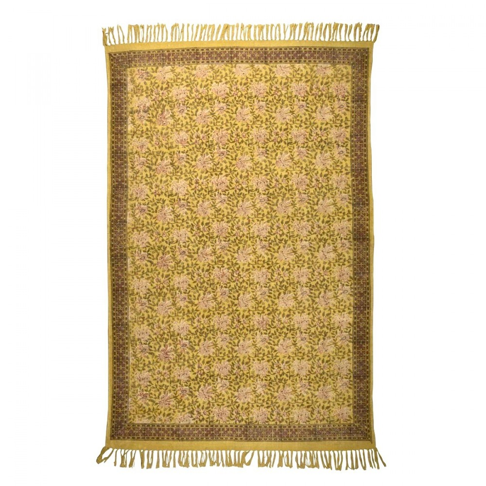 Tapis Oriental Indian Block Jaune Par Drawer