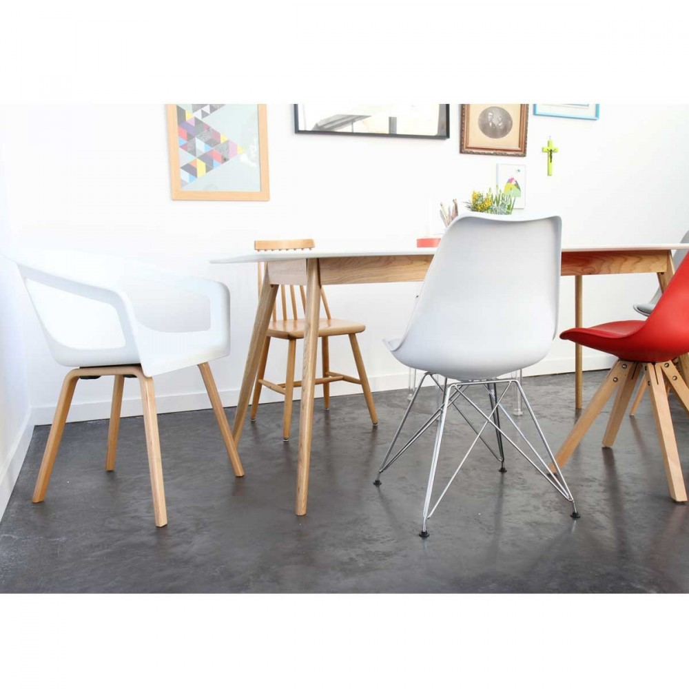 Chaise design scandinave blanche shelwood - Chaise design suedois ...
