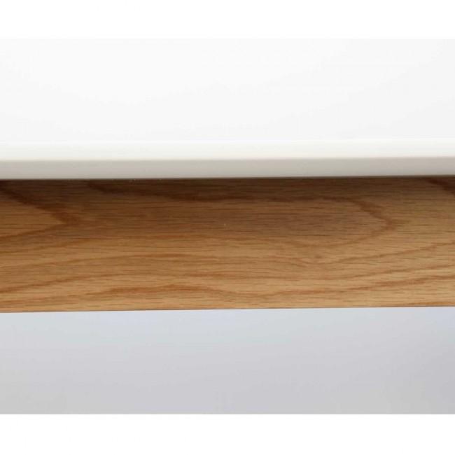 Table à manger design scandinave bois et laque blanche Skoll detail bois