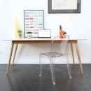 Table à manger design scandinave bois et laque blanche Skoll ambiance