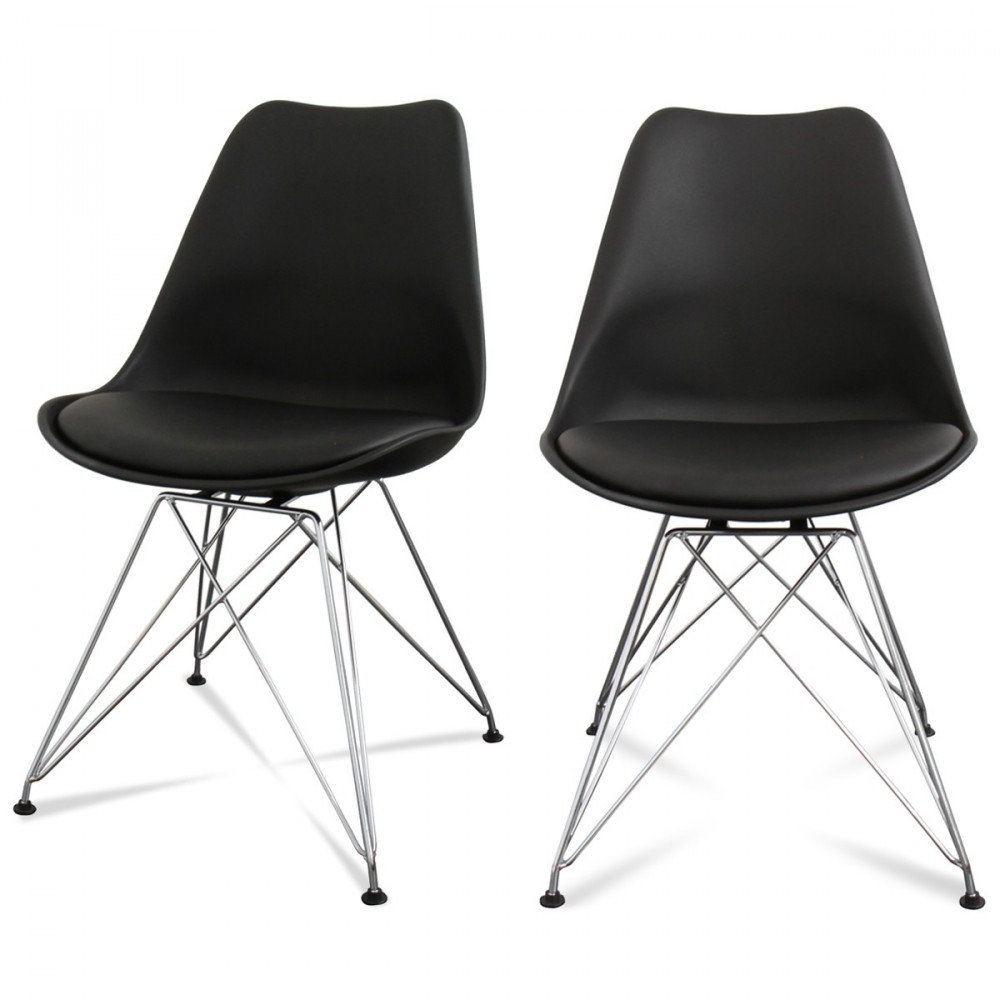lot de 2 chaises design ormond steel par. Black Bedroom Furniture Sets. Home Design Ideas