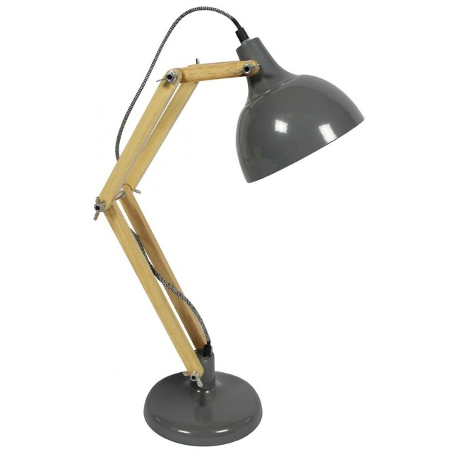Lampe de bureau métal bois Hadar grise