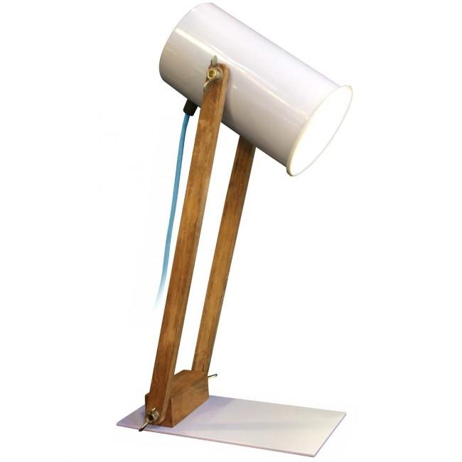Lampe articulée bois et métal Regulus blanche