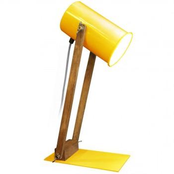 Lampe articulée bois et métal Regulus jaune